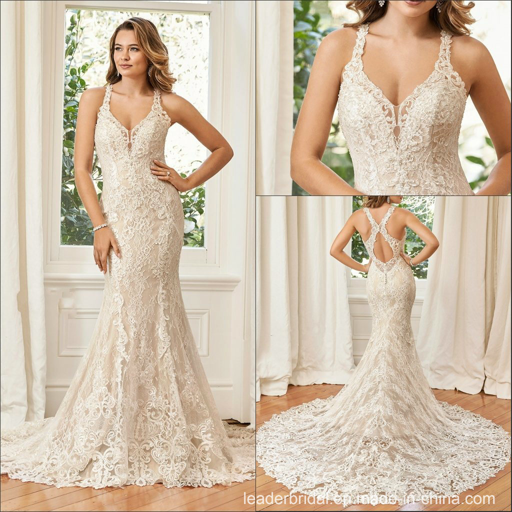 China Halter Bridal Gowns Applique Lace Mermaid Wedding