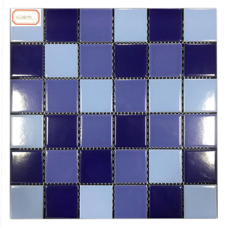 China Ocean Blue Swimming Pool Ceramic Wall Decoration Round Floor Mosaic China Ceramic Pool Tile