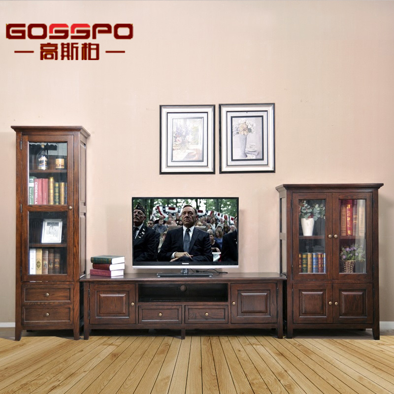 China Antique Wood Tv Stand Cabinet With Glass Doors Gsp15 002