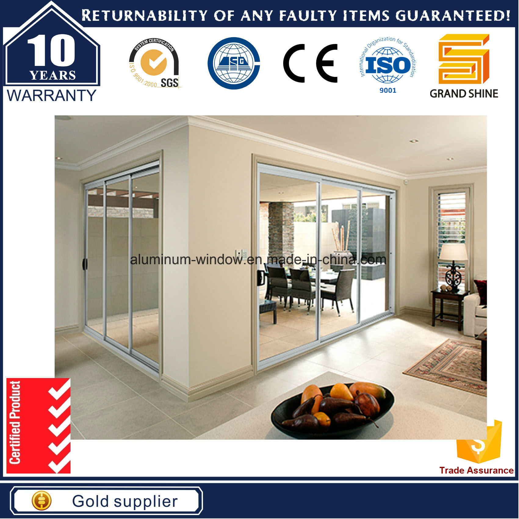China Aluminum Sliding Door For Warehouse With As2047 And Usa