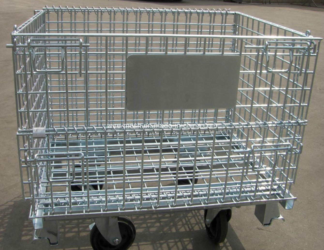 China Folded Wheeled Cart/ Storage Cage/Wheeled Wire Mesh Container ...