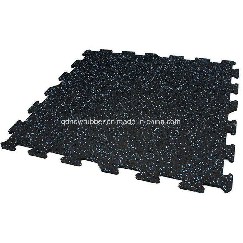China Fitness Center Rubber Flooring Tiles With White Epdm Flecks Mat Mats