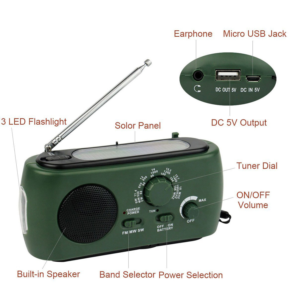 China Rd 332 Led Multifunction Emergency Am Fm Portable Radio Solar Dynamo Powered W Flashlight Hand Crank