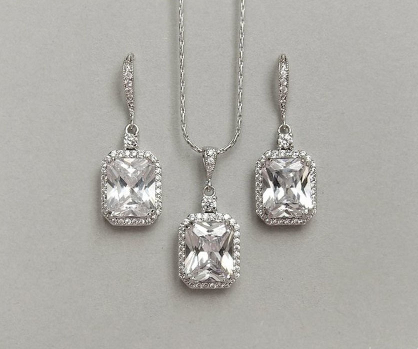 Wedding CZ Jewelry Set, Square Drop CZ Jewelry, Bridesmaid Jewelry, Gift Jewelry, Fashion Jewelry pictures & photos