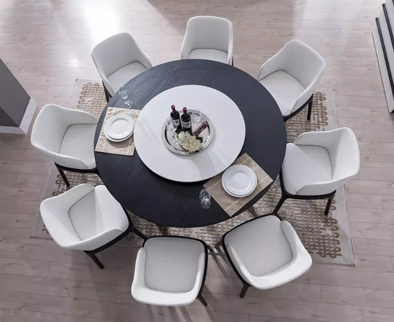 China Wooden Dining Table, 8 Seater Round Table
