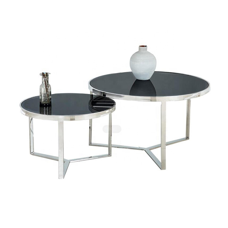 China Glass Round Tea Table Sofa Side, Round Glass And Stainless Steel Coffee Table