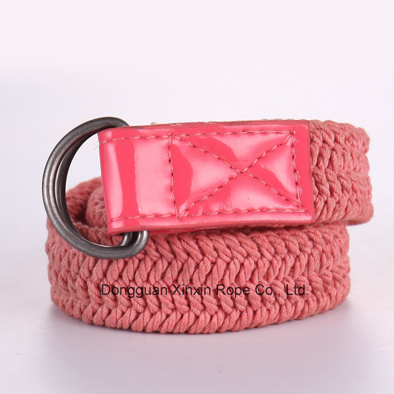 Polyester Twine Weaving Double-Ring Buckle Women Belt for Gift