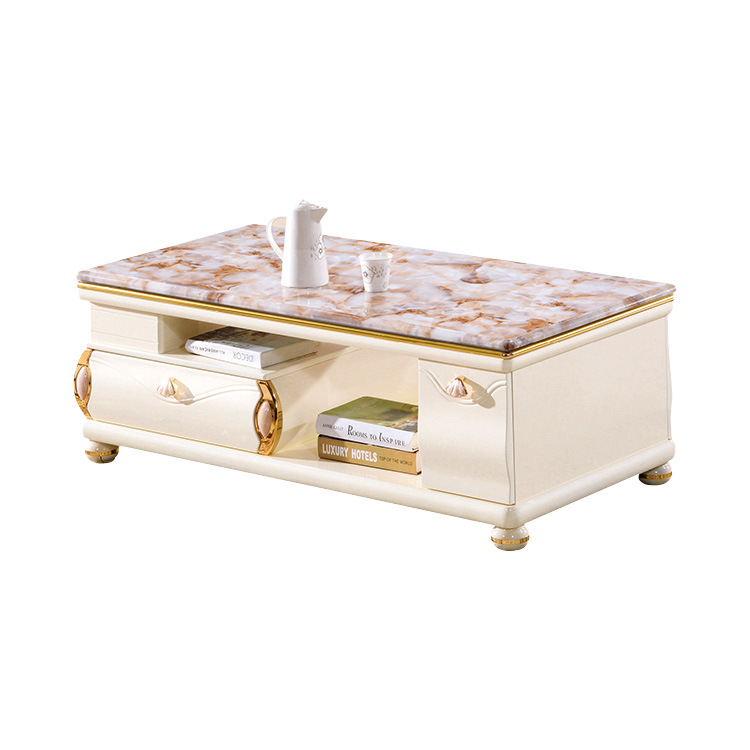 Marble Top Wooden Luxury Coffee Table