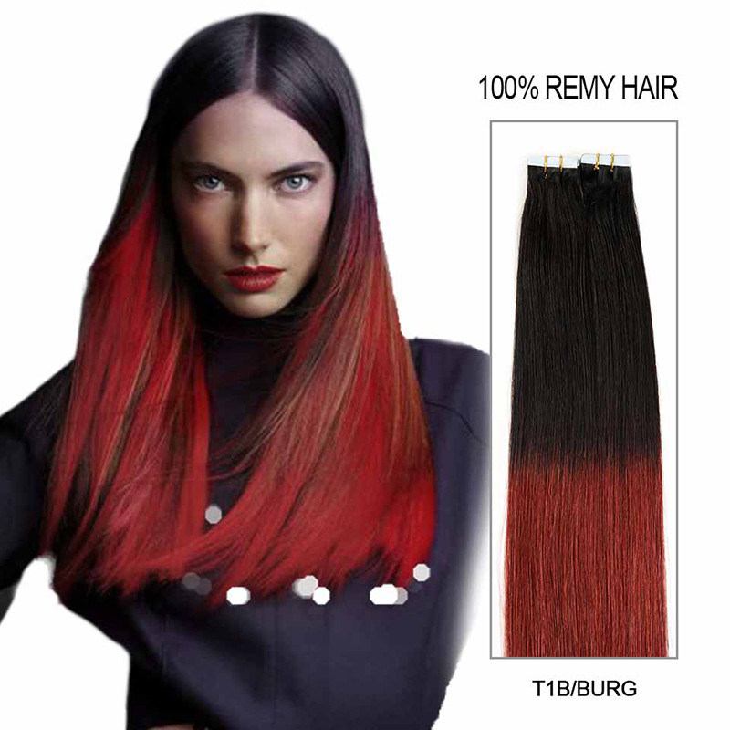China New Best Quality 20 Inch Indian Remy Colourful Tape Hair