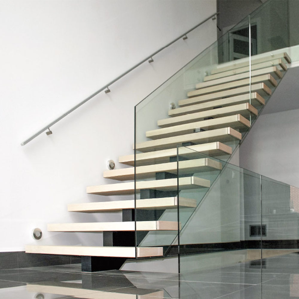 China modern house carbon steel mono beam wooden staircase with wood treads china steel staircase mono beam staircase