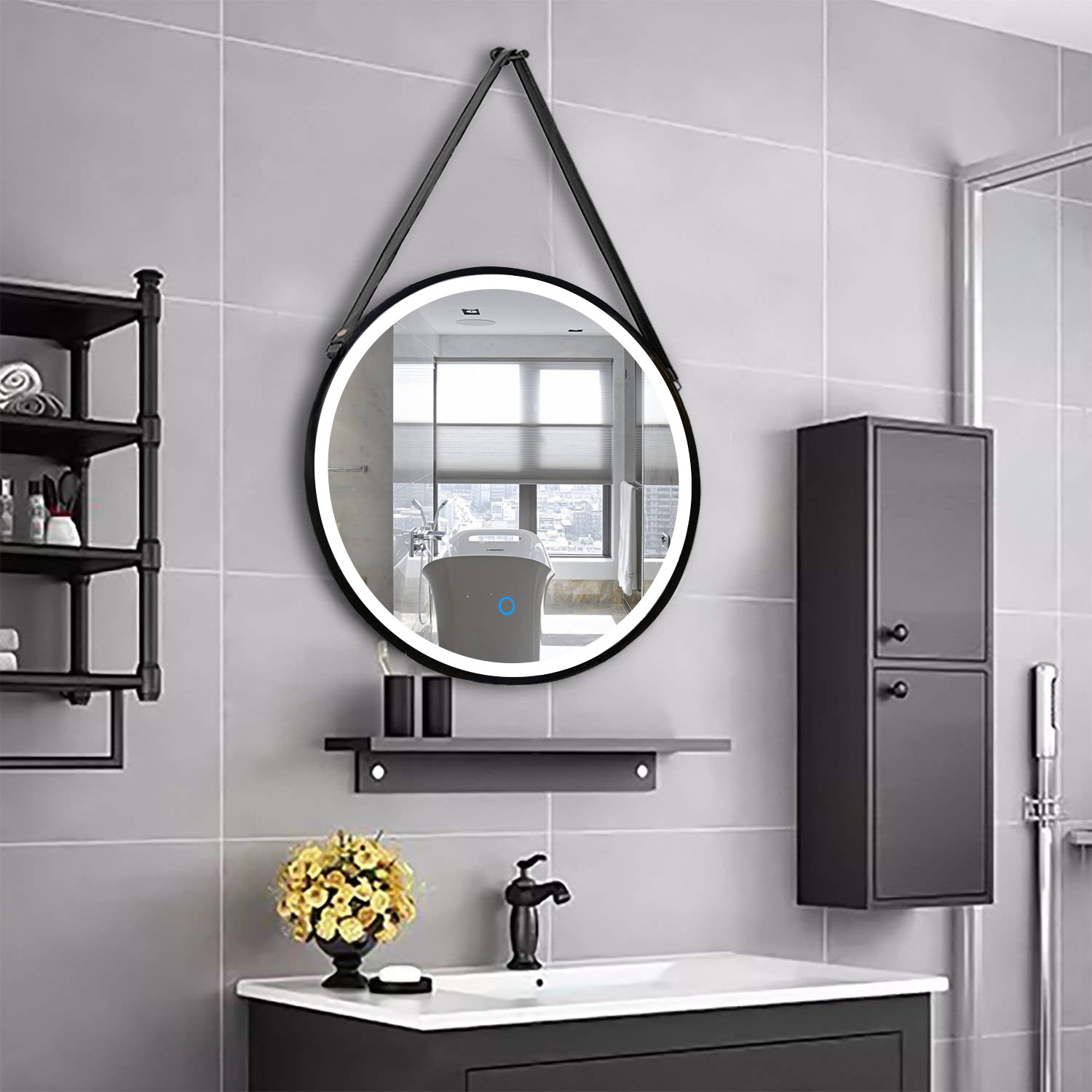 China Diy Black Power Coating Framed Led Lighted Round Touch Sensor Bathroom Mirror With Strap China Mirror Led Mirror