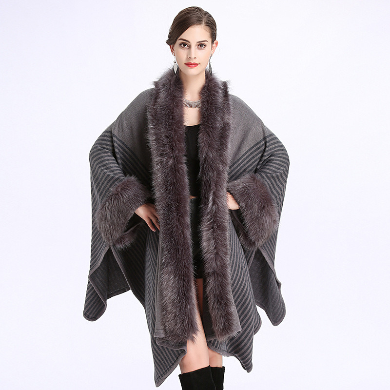 European and American Loose Fox Hair Collar Acrylic Shawl Cloak pictures & photos