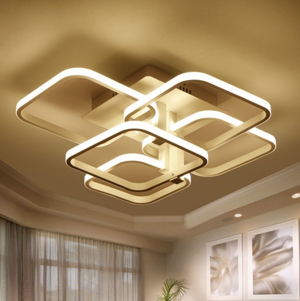 Square Surface Mounted Modern Led Ceiling Lights For Living Room Light Fixture Indoor Home Decorative Lampshade