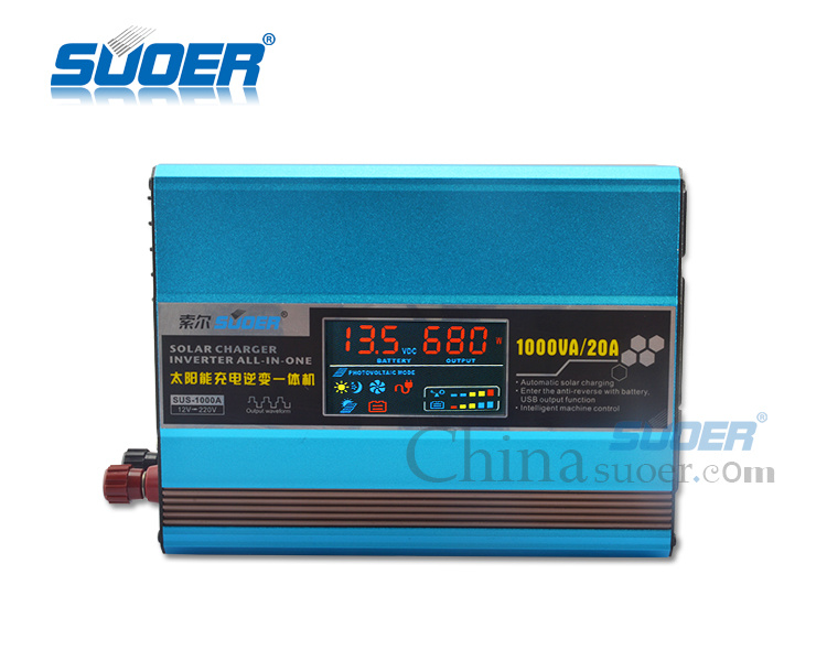 Suoer 1000W DC 12V 220V Auto Solar Power Inverter with Built-in Solar Controller (SUS-1000A) pictures & photos