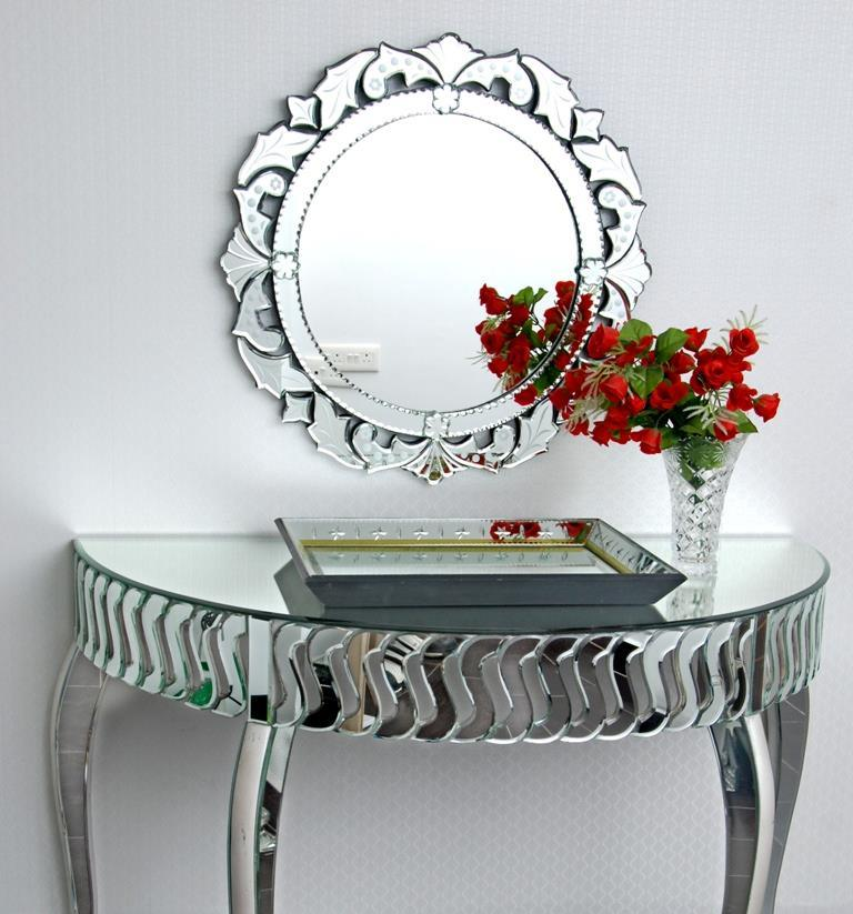 Decor Wall Mirror And Console Table Set, Home Goods Mirrored Side Table