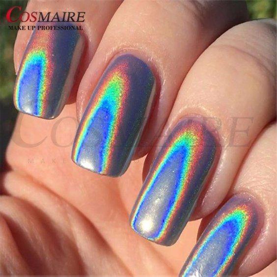 China Nail Art Holographic Nail Polish Rainbow Pigment - China ...