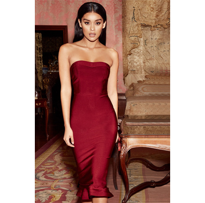 88c56033a311 2018 Strapless Fishtail Three Color Over Knee Length Party Prom Dress