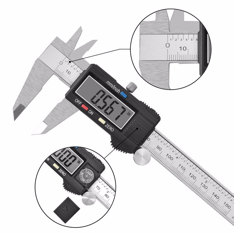 "High Quality Popular Inch Metric 6"" 150mm Digital Caliper 75/100/150/200/300mm pictures & photos"
