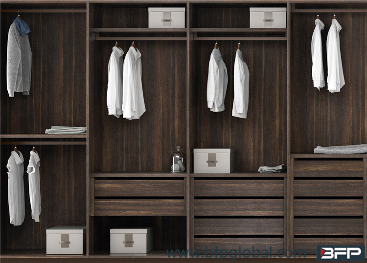 Wood Grain Melamine Laminate Wardrobe Bedroom Furniture Popular pictures & photos