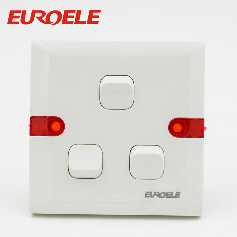 China White Plastic ABS 250V/10A Electric Wall Gang Switches with ...