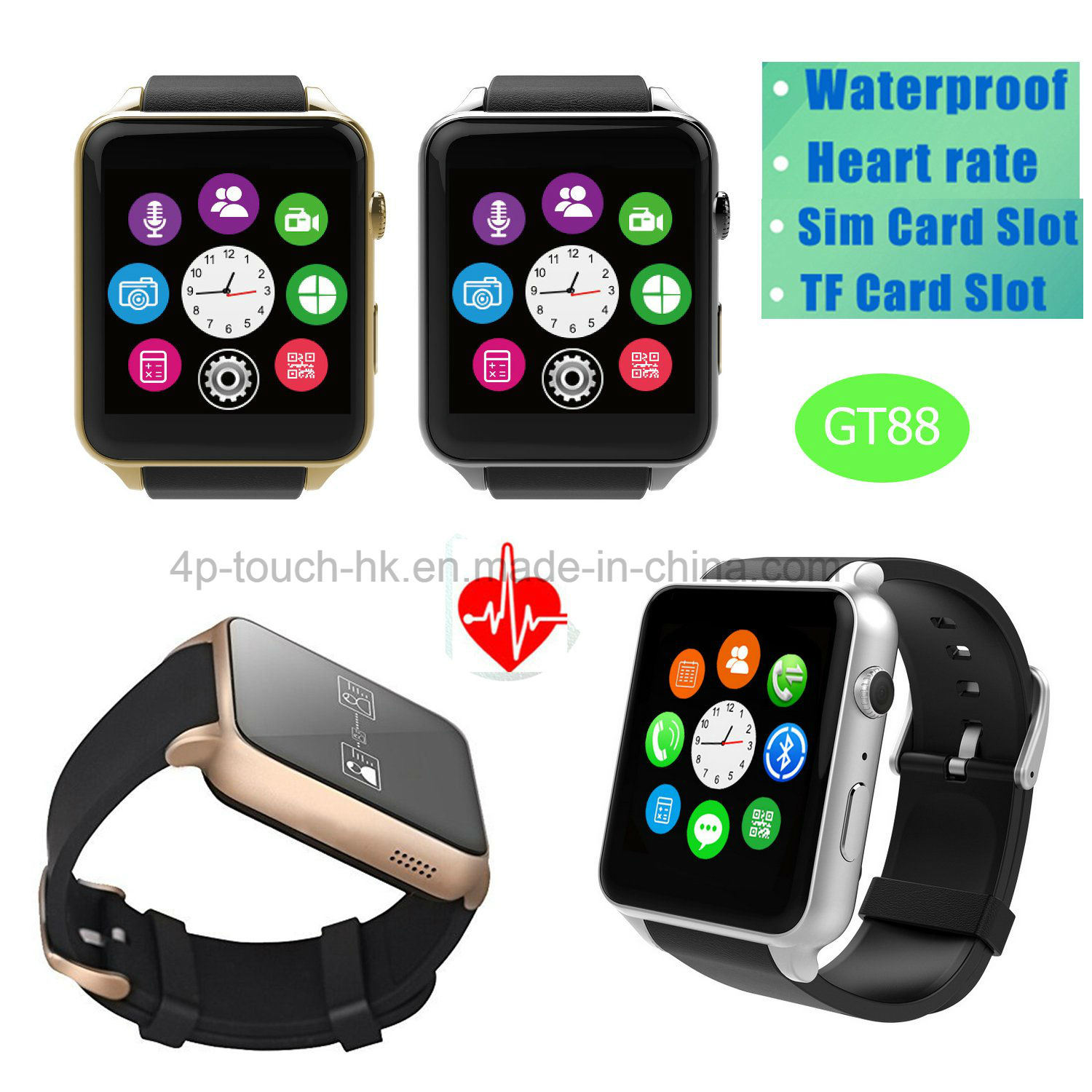 [Hot Item] Sport Bluetooh Smart Watch Phone with Heart Rate Monitor Gt88