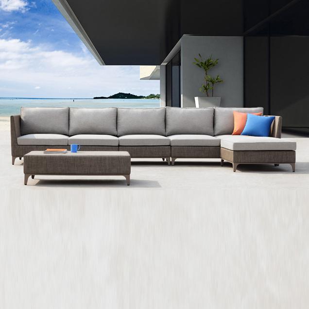 China Garden Corner Sofa Modular Sectional Lounger Sofa Set - China ...