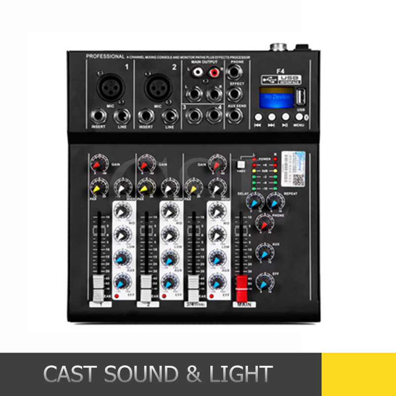 [Hot Item] Mini Portable 4 Channel Audio DJ Mixer with Bluetooth MP3
