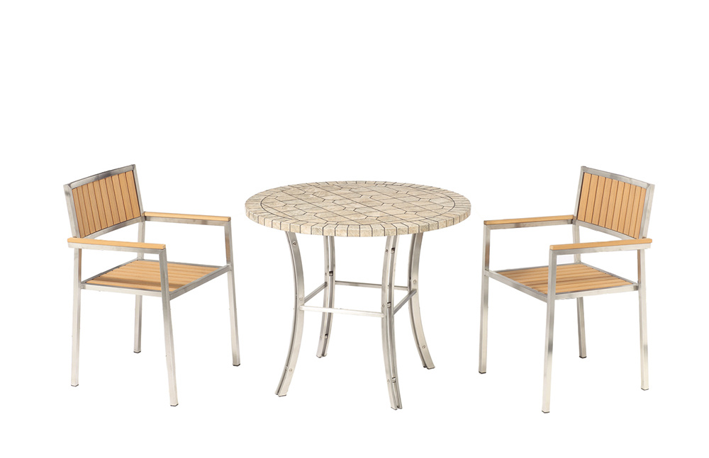 China Stainless Steel Teak Wood Outdoor Chair Garden Sets Dining Table