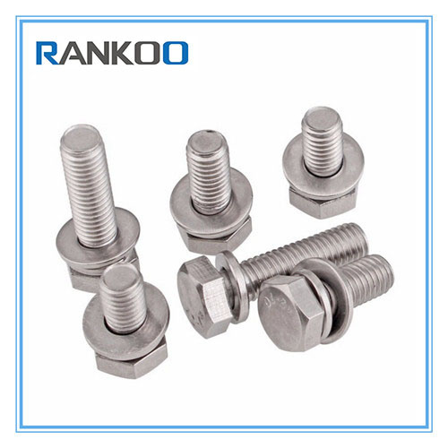 [Hot Item] DIN933 Hexagon Head Bolt Assemblies with Flat Wahser and Spring  Washer Attached
