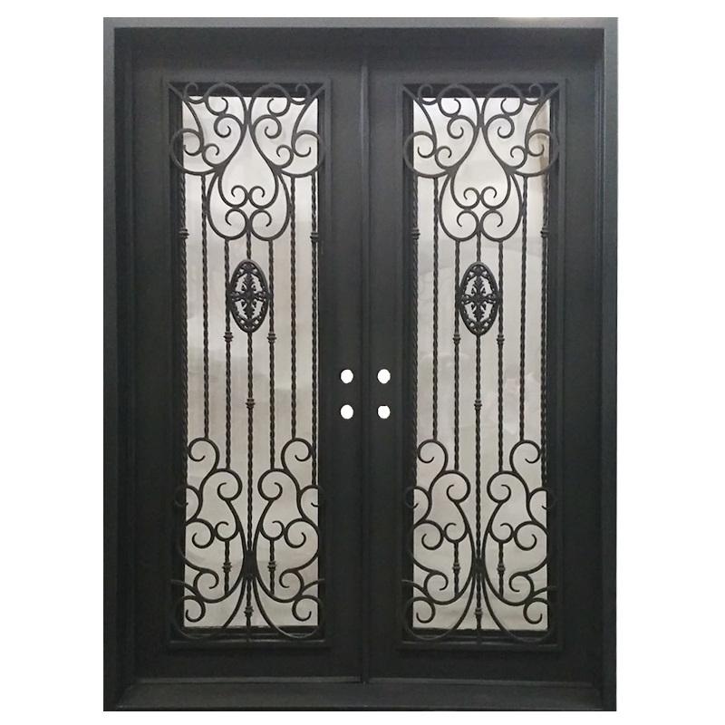 China Luxury America Standard Iron Grill Entry Door With Window Designs Steel Doors Exterior