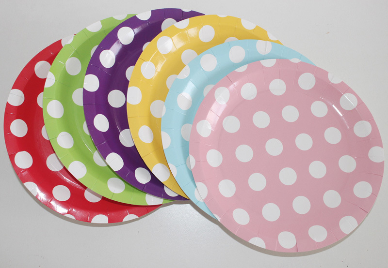 9 Polka DOT Fancy Customized Printed Disposable Bulk Paper Plates & China 9