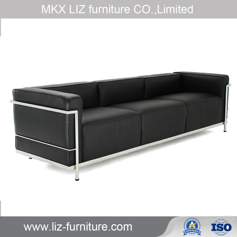 [Hot Item] Modern Barcelona Style Metal Frame Office Leather Sofa Couch  (S1686)