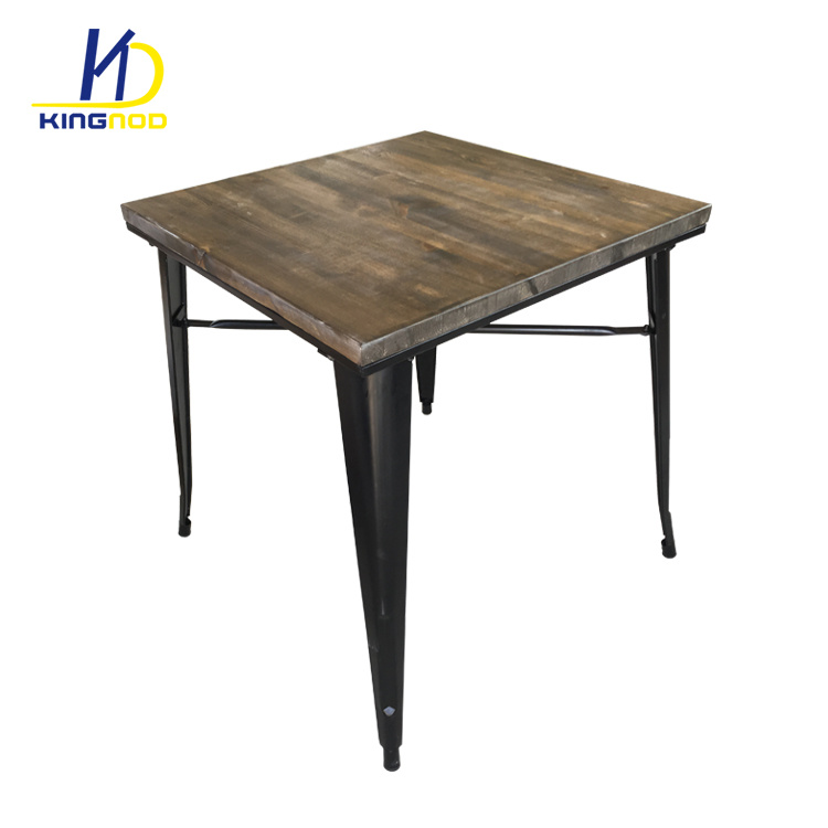 China Vintage Solid Wood Table Restaurant Metal Dining