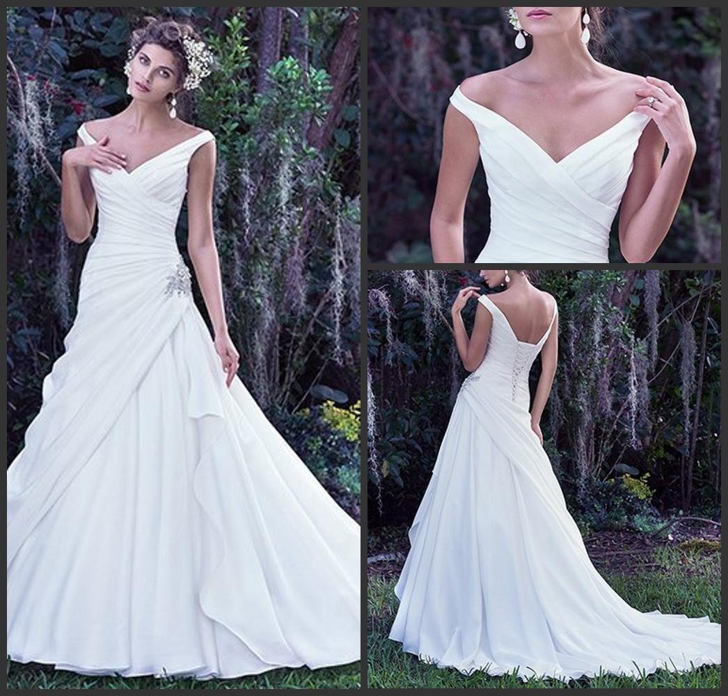 China V-Neck Bridal Gowns off Shoulder Simple Satin Wedding Dress ...