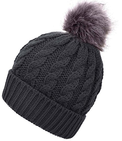 94490706e [Hot Item] Women′s Winter Cable Knit POM POM Foldable Cuff Beanie Hat