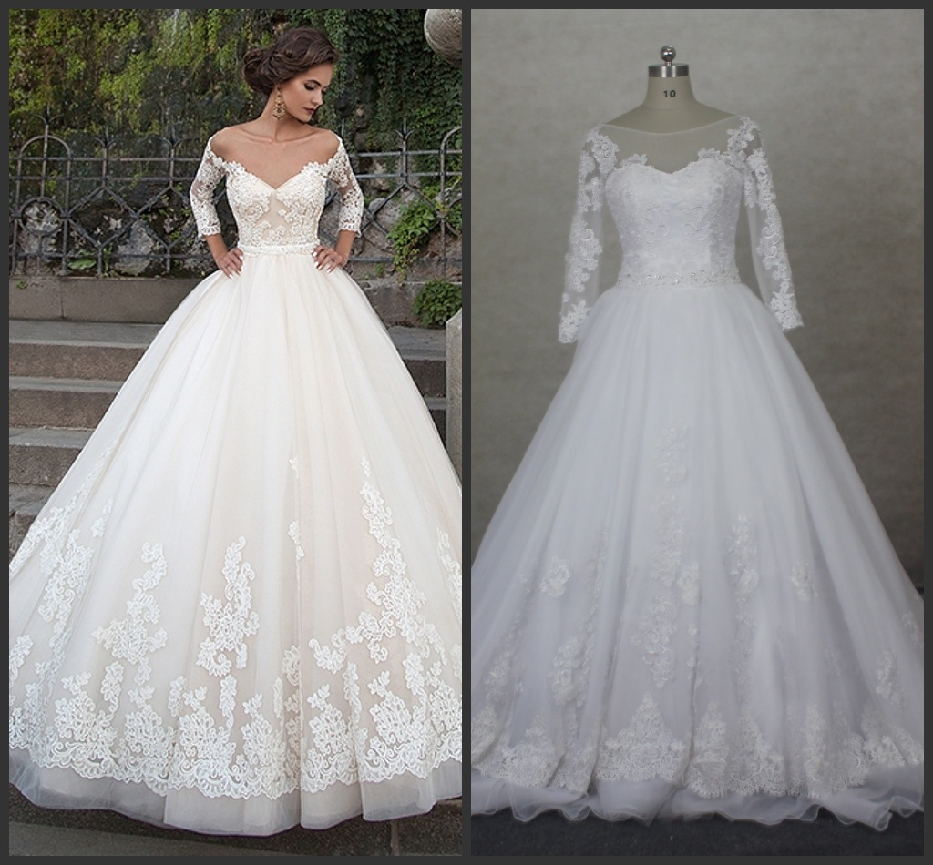 China Stock White Bridal Gowns 3/4 Sleeves A-Line Organza Lace ...