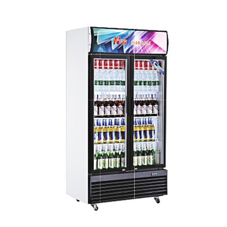 China 800l Fan Cooling Double Glass Door Fridge For Soft Drinks
