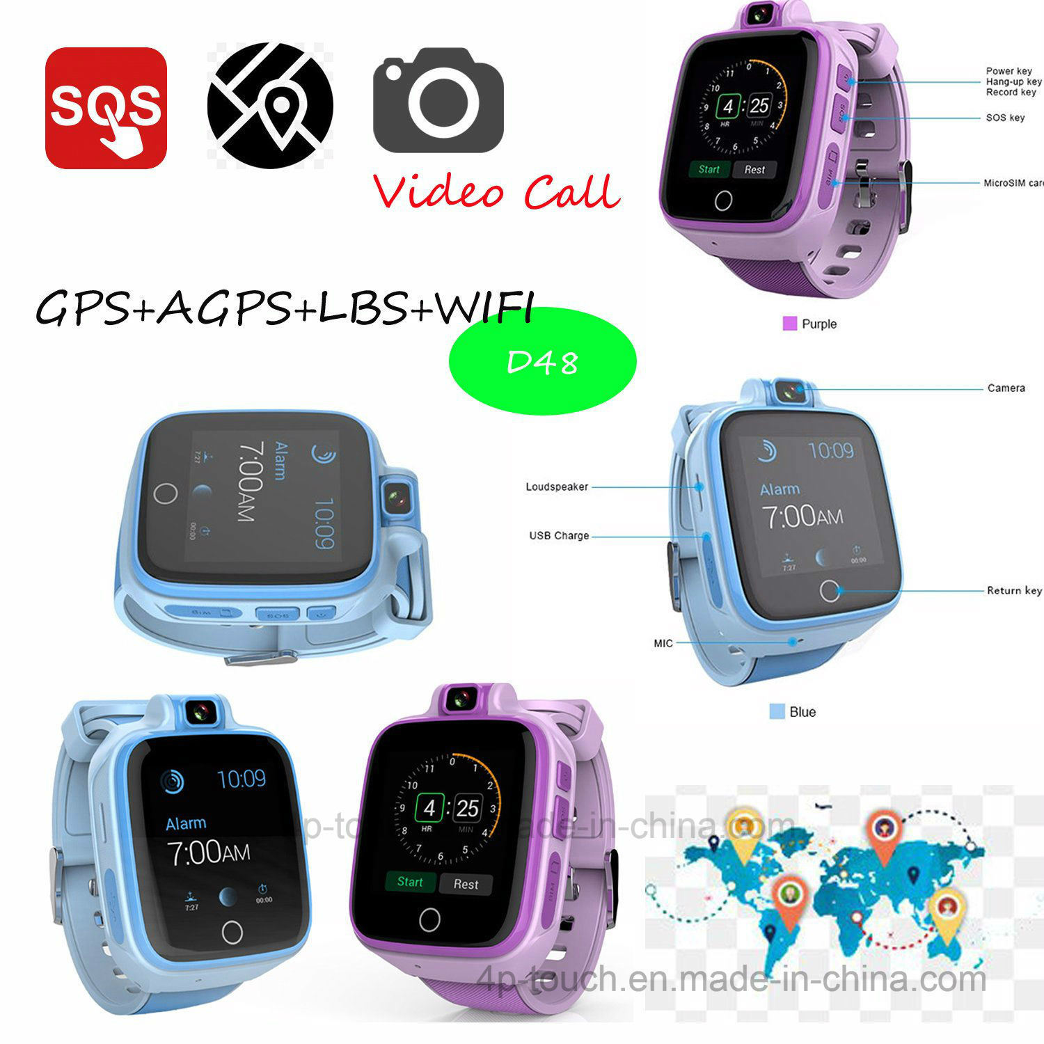 a60b20a5f531 China Newest 4G Lte Kids GPS Tracker Watch with Video Call D48 - China GPS  Tracker