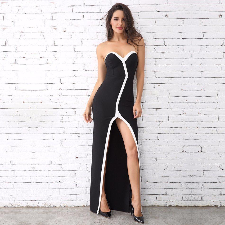 41dff3f77ca China Fashion Women Strapless Black White Long Dress Celebrity Dresses  Party Dresses Evening of Maxi Dress - China Evening Dress