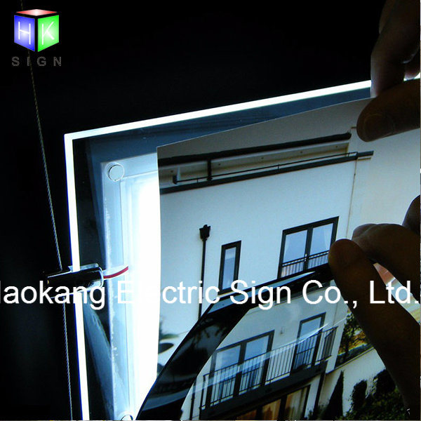 Window Hanging Crystal Picture Frame Landscape Led Light Box For Real Estate Agent Advertising Sign Holder