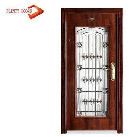 China Arched Beautiful Wrought Iron Entry Front Steel Jalousie Door
