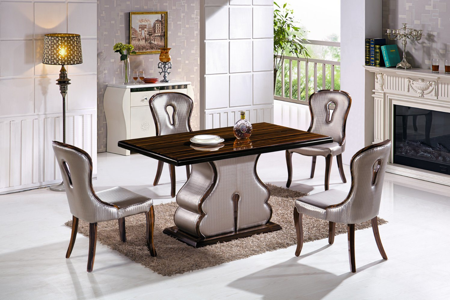China 2018 New Design Marble Like Stone With Wood Dining Table Dining Chair China Dining Table Dining Chair