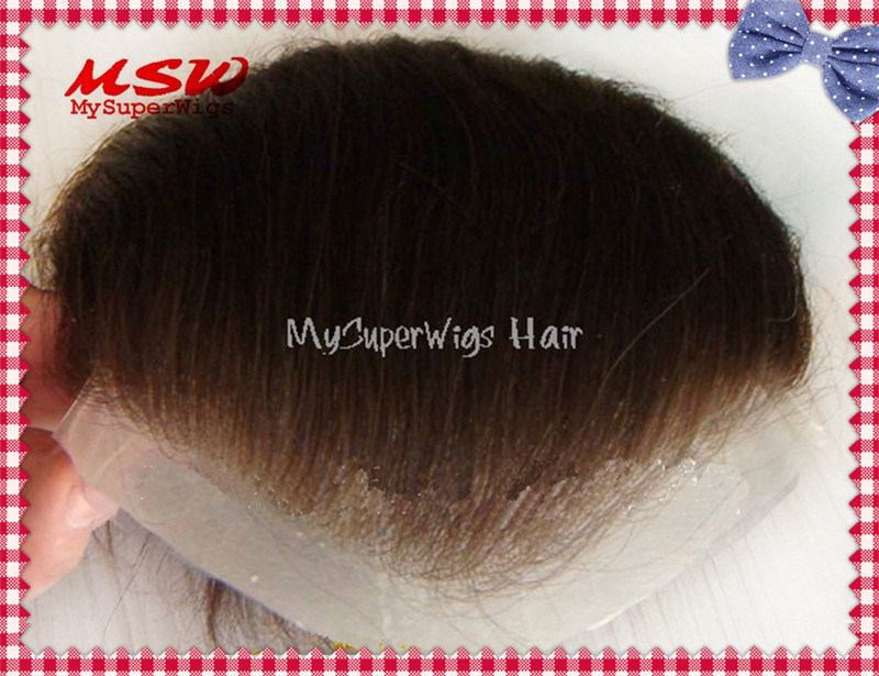 Single Knotting Hair Clear Thin Poly Base Men′s Hairpiece