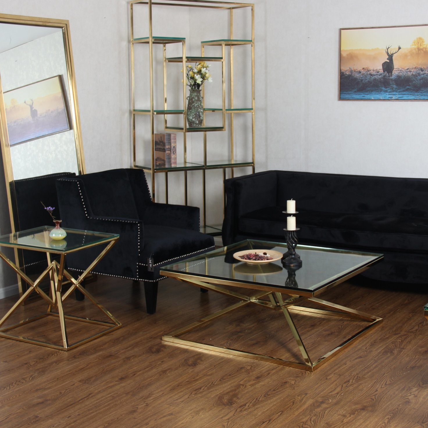 China Modern Square Tempered Glass Gold Metal Stainless Steel Coffee Table    China Coffee Table Modern, Gold Coffee Table