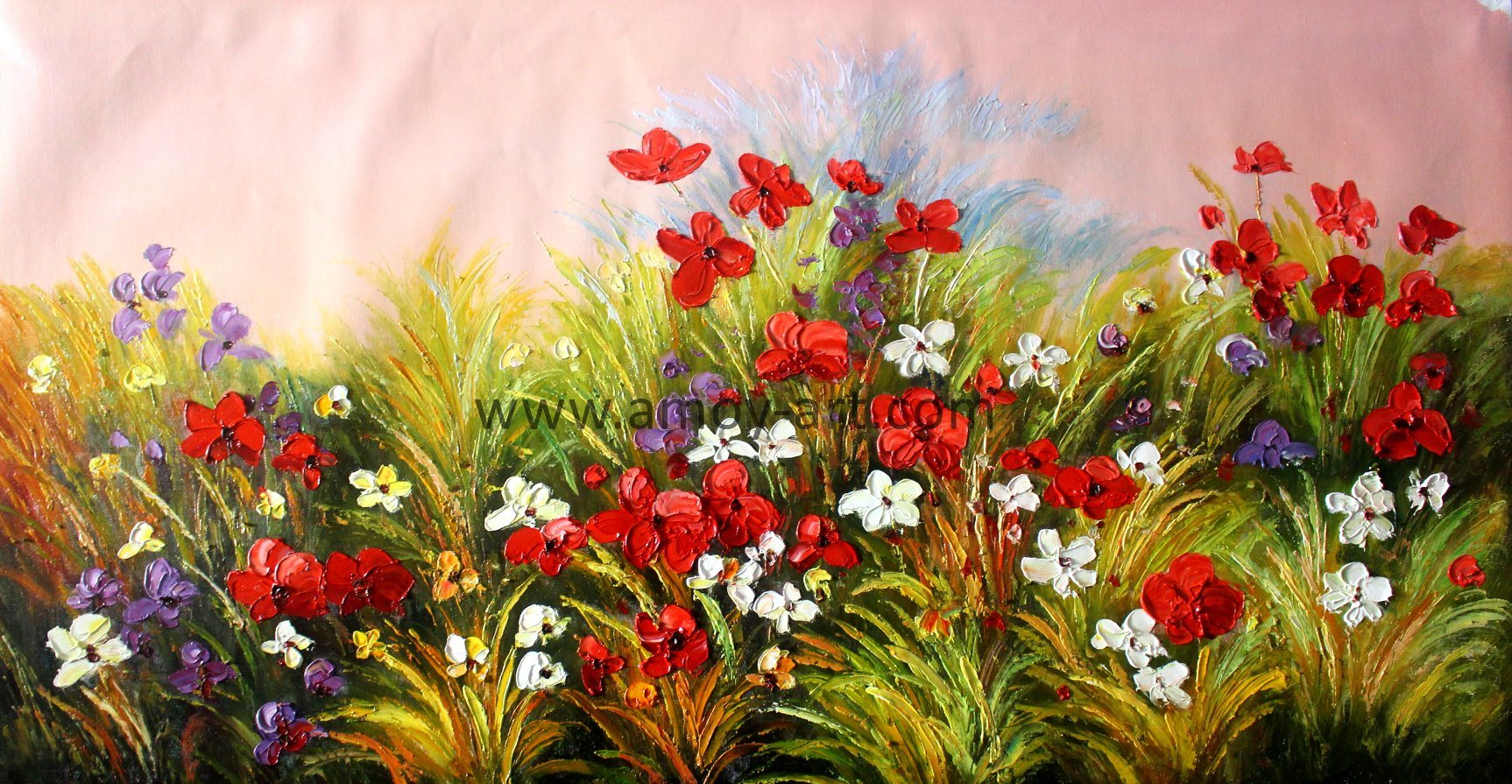 China Large Handpainted Red Flower Field Oil Paintings For Wall Decor China Canvas Oil Paintings And Wall Art Price