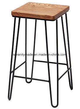 Groovy Hot Item Wholesale Bar Furniture Hairpin Legs Square Wooden Seat Bar Stool Gmtry Best Dining Table And Chair Ideas Images Gmtryco