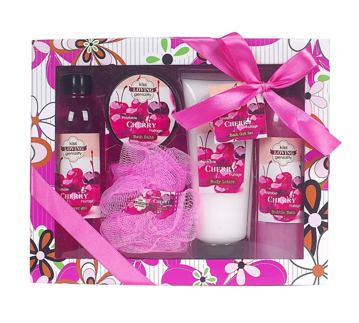 China Oem Manufacture Cherry Body Wash Care Spa Gift Set In Paper Gift Box China Bathroom Bath Sets And Bath And Body Gift Set Price