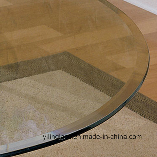 China Beveled Edge Round Table Top Glass China Tempered Desk Top Glass Hardened Table Glass