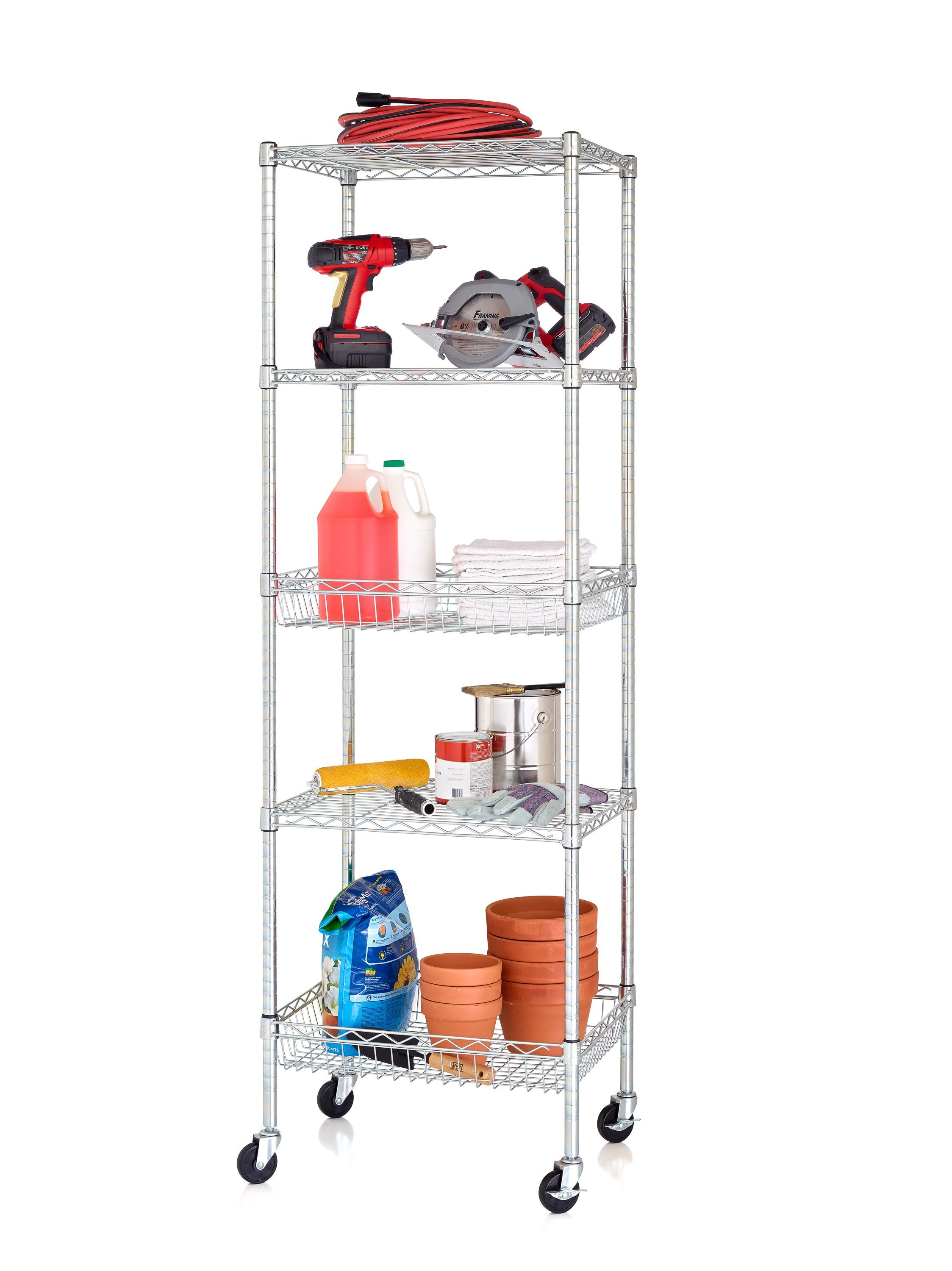 Hot Item Economic Garage Kitchen Storage Cart Utility Rack Wire Shelving Unit With Baskets