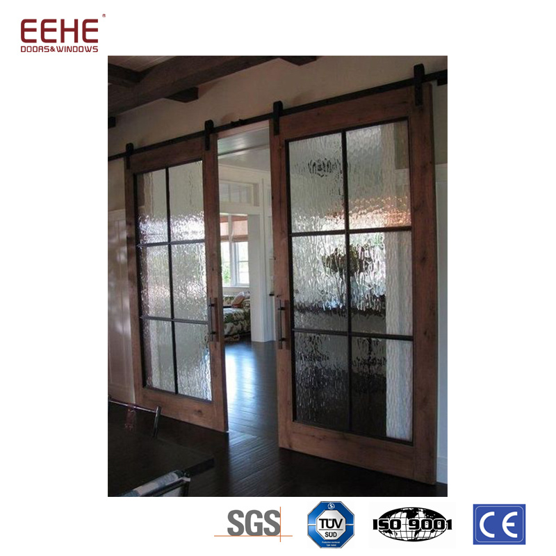 China Interior Design Double Glass Sliding Pocket Wood Door For Home